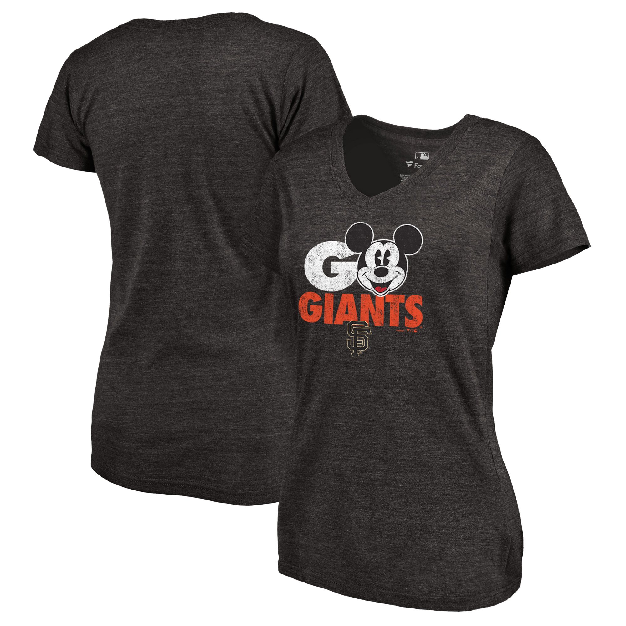 San Francisco Giants Fanatics Branded Women's Disney Rally Cry Tri-Blend V-Neck T-Shirt - Black