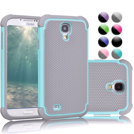 promo code d5dfa 54225 Galaxy S4 Case, Samsung Galaxy 4 Case, Njjex [Turquoise/Grey] Rugged Rubber  Double Layer Plastic Scratch Resistant Hard Case For Samsung Galaxy S4 S ...