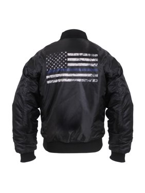 Rothco Thin Blue Line Flag MA-1 Flight Jacket, Law Enforcement Support, Black