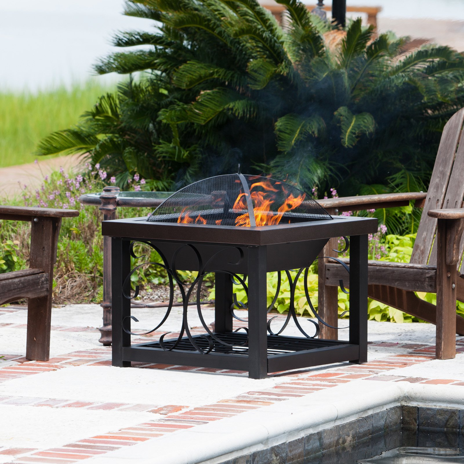 Fire Sense 28 in Square Convertible Fire Pit Table Hammertone