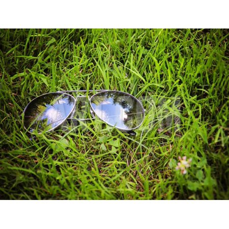 Vintage Aviator Wall (A Pair of Aviators on the Grass Toned with a Retro Vintage Instagram Filter Print Wall Art By graphicphoto)