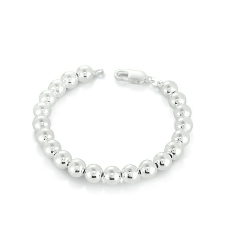 Sterling Silver Bead Station Bracelet, 7.5""