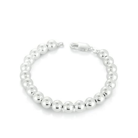 Sterling Silver Bead Station Bracelet, 7.5
