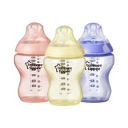 Tommee Tippee Closer to Nature Colour My World Baby Bottles, 9 ounce, 3 pack, Girl