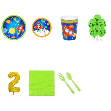 Rocket to Space 2nd birthday supplies party pack for 16 - Space Party Supplies