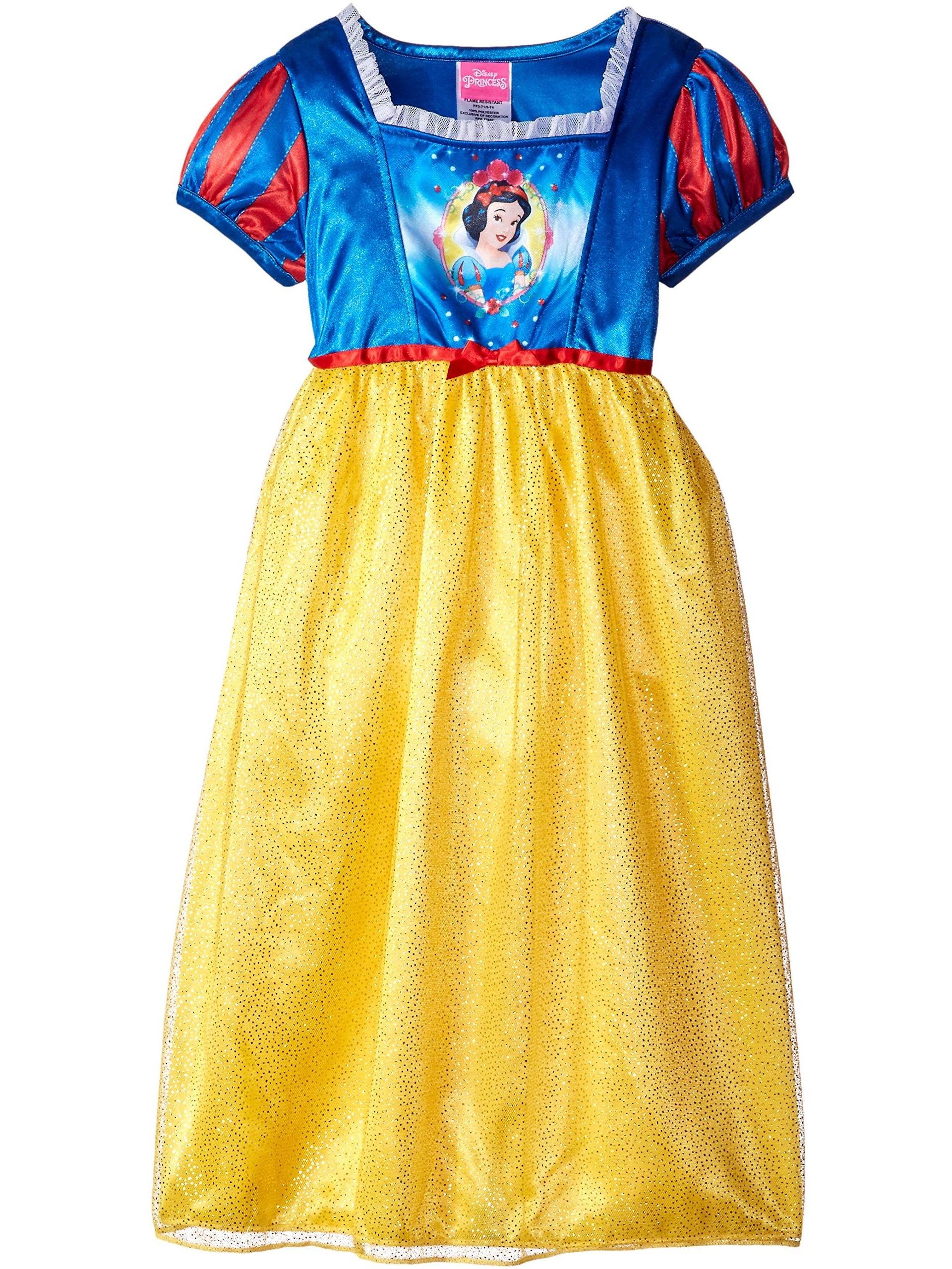 Disney Princess Girls' Snow White Fantasy Nightgown, Gown Sizes 4-8, Yellow, Size: 6