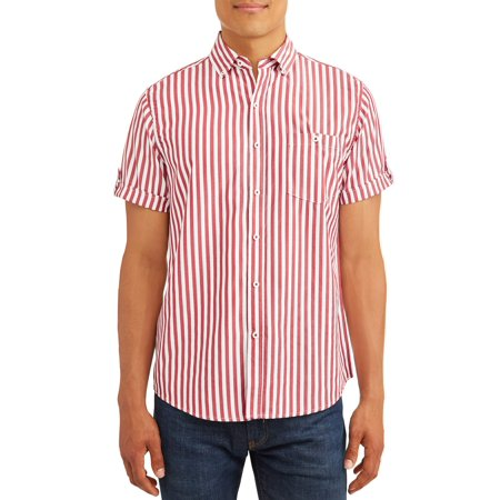 Men's Yarn Dyed Short Sleeve Striped Woven Shirt, up to 5XL