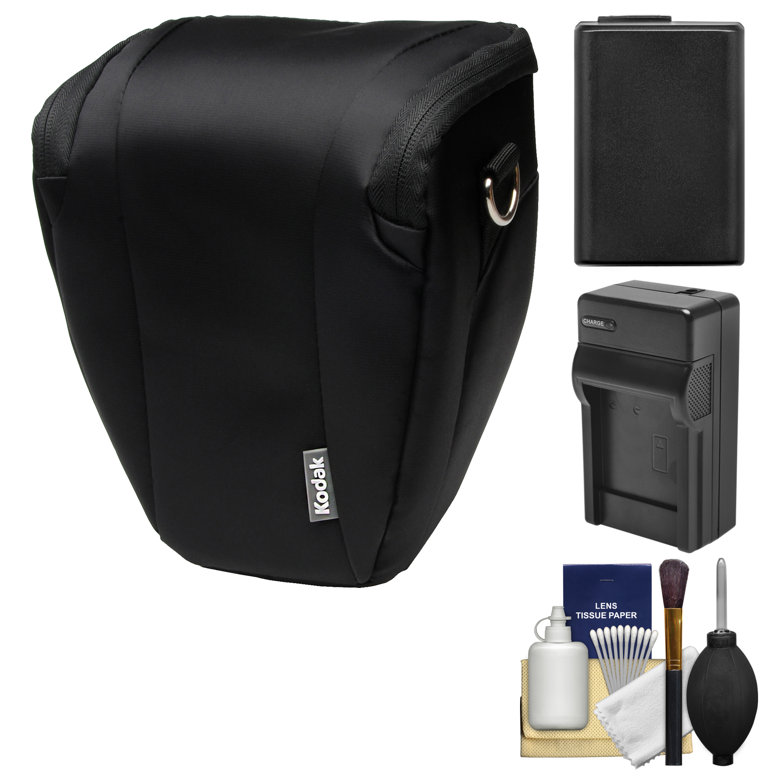 Kodak Deluxe Top-Load DSLR Camera Holster Case (Black) with NP-FW50 Battery & Charger + Cleaning Kit for A5100, A6000, A6300, A6500, A7, A7R, A7S II