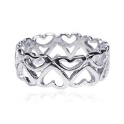 Amazing Heart Bonds of Love .925 Sterling Silver Ring (Thailand) Size 7