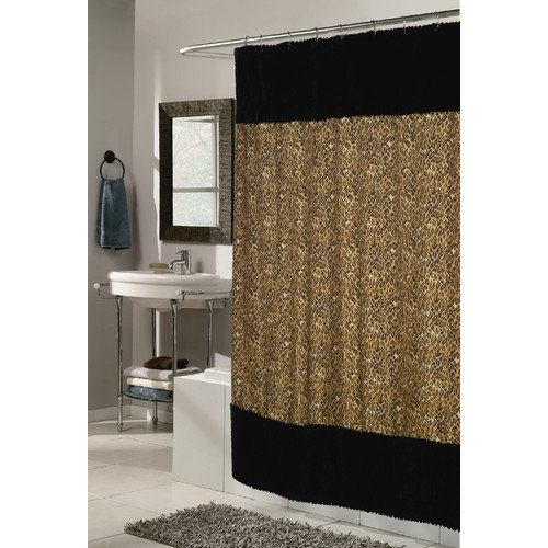 Carnation Home Fashions Animal Instincts Sable Faux Fur Trimmed Shower Curtain