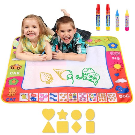 Water Drawing Mat Large Doodle Mat Painting Board Writing Mats with 4 Pens 8 Molds Kids Learning Toy
