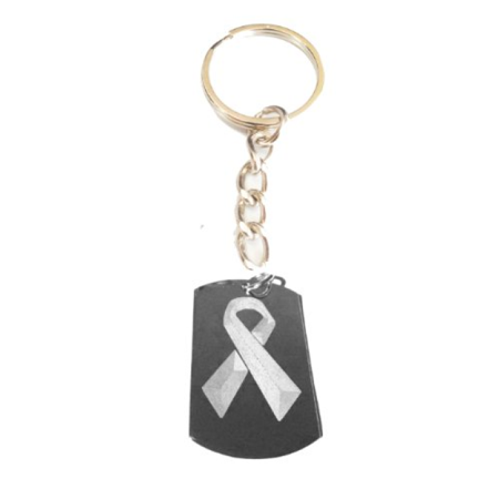 Breast Cancer Pink Ribbon Symbol Logo - Metal Ring Key Chain Keychain