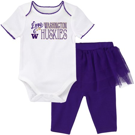 Washington Huskies Girls Newborn & Infant Football Dancer Bodysuit & TuTu Legging Set - White/Purple - 3 MO - Gogo Dancer Outfits