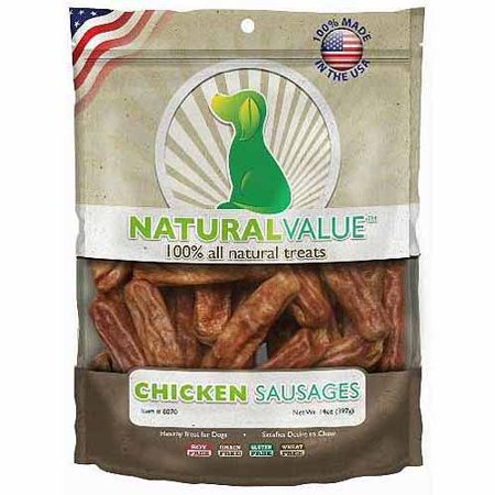 Loving Pets Natural Value Soft Chew Chicken Sausages Dog Treats  14 Ounces