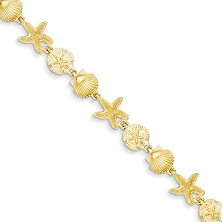 """14K Gold Seashell Fancy Link Bracelet 7.5"""""""