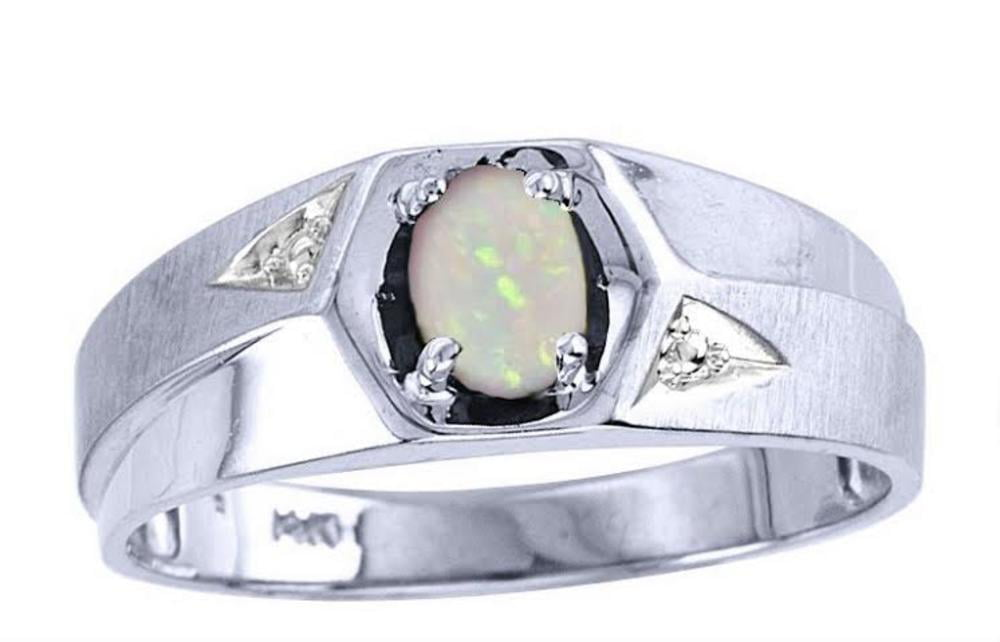 Men's Opal & Diamond Ring White Gold Plated Silver by Tourmaline Rings
