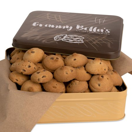 Granny Bella's Christmas Gift Baskets Homemade 36 + Gourmet Crunchy Chocolate Chip Cookies In Reusable Tin | Prime Holiday Fresh Bakery Gifts Delivery For Grandma, Men & Women | Fami ()