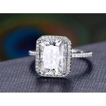 18k White Gold Moissanite Ring - 1.5 Carat Real Moissanite and Diamond Engagement Ring in 18k Gold Over Silver