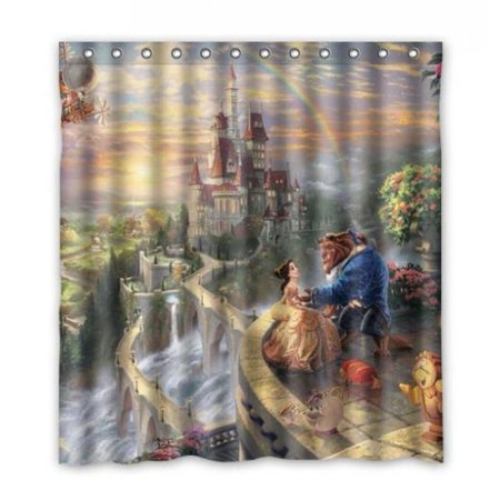 DEYOU Beauty And Beast Shower Curtain Polyester Fabric Bathroom Size 60x72 Inch