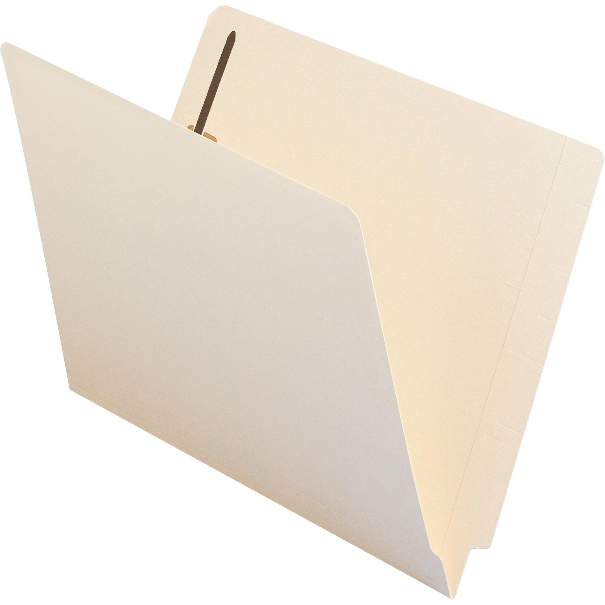 Smead End Tab Fastener File Folder, Shelf-Master® Reinforced Straight-Cut Tab, 2 Fasteners, Letter Size, Manila, 50 per Box (34115)