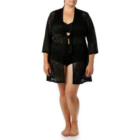 Catalina Women's Plus-Size Crochet Tie-Front Tunic Swim Cover-Up