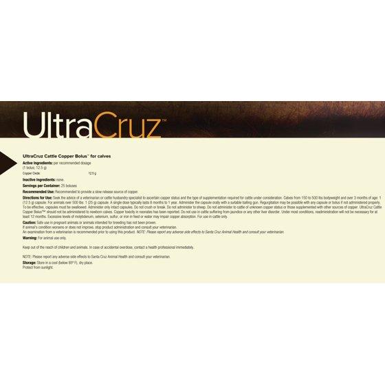 Ultracruz Cattle Copper Bolus Supplement For Calves 25 Count 125