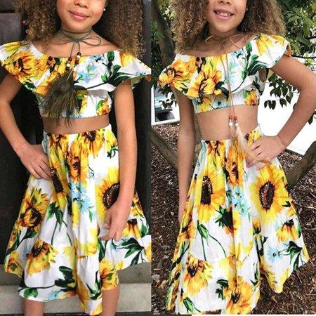 2Pcs Kids Baby Toddler Girl Sunflower Outfits Off Shoulder Crop Tops + Skirt Clothes