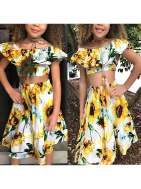 cc3a1866f95b Product Image 2Pcs Kids Baby Toddler Girl Sunflower Outfits Off Shoulder  Crop Tops + Skirt Clothes Set