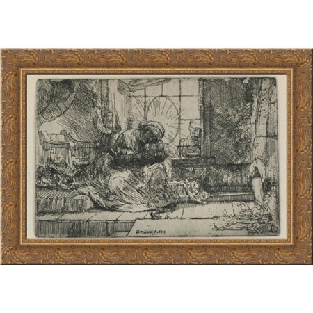 Rembrandt Cat Charm - The Holy Family with a cat 24x20 Gold Ornate Wood Framed Canvas Art by Rembrandt