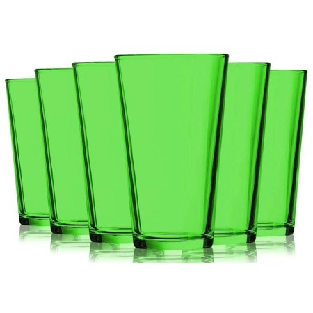 Light Green Colored Mixing Glasses - 16 oz. set of 6- Additional Vibrant Colors Available by TableTop