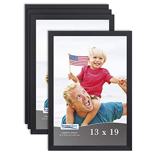 Icona Bay 4x6 Sleek Design Sturdy Wood Composite Photo Frames 4 x 6 10x15 cm Exclusives Collection Picture Frames Table Top or Wall Mount Black, 6 Pack