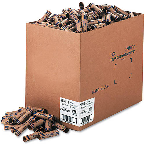 MMF Industries Preformed Tubular Coin Wrappers, 1000 Wrappers/Box