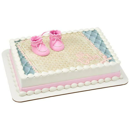 Terrific Baby Booties Girl Decoset With 1 4 Sheet Edible Cake Topper Funny Birthday Cards Online Aeocydamsfinfo