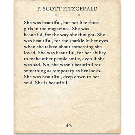 F. Scott Fitzgerald - She was Beautiful. - 11x14 Unframed Typography Book Page Print - Great Gift for Book