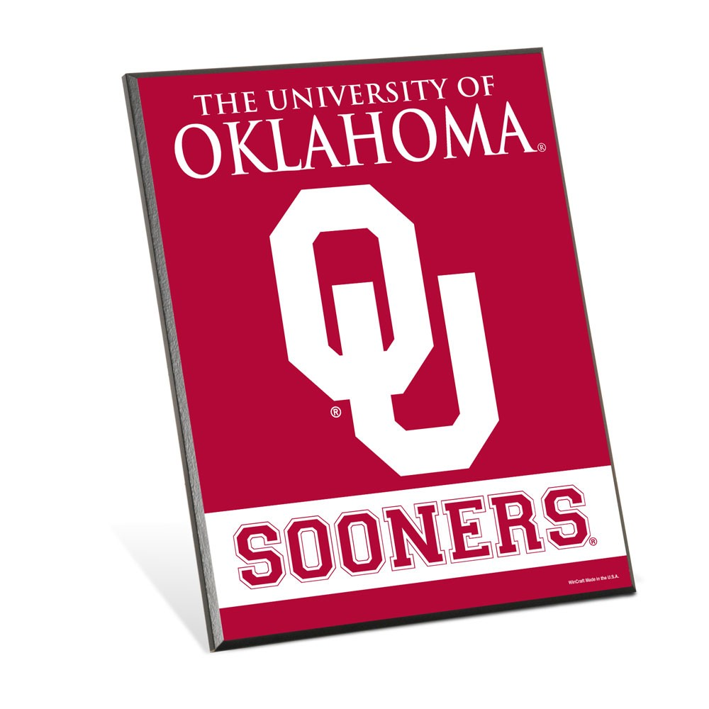 Oklahoma Sooners Official NCAA 8 inch x 10 inch  Wood Sign by WinCraft