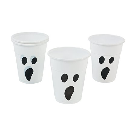 Fun Express - Ghost Disposable Cups (50pc) for Halloween - Party Supplies - Drinkware - Disposable Cups - Halloween - 50 Pieces - Halloween Express Coupon In Store