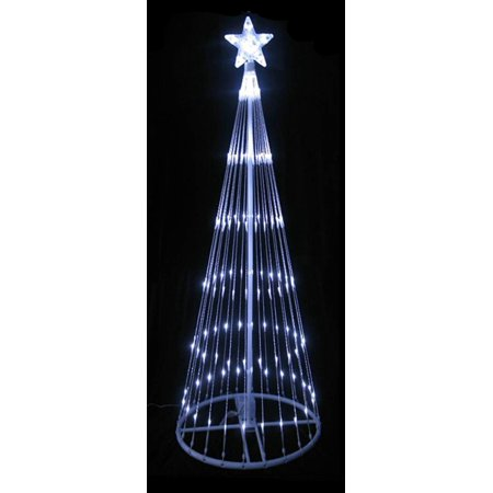 12 Pure White Led Light Show Cone Christmas Tree Lighted Outdoor Decoration