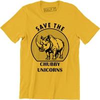 Save The Chubby Unicorns Funny Rhino With A Play On Unicorn Parody T-Shirt
