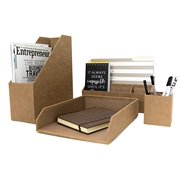 Blu Monaco Brown Desk Organizer - 4 Piece Desk Accessories Set - Letter - Mail Organizer, Paper - Do