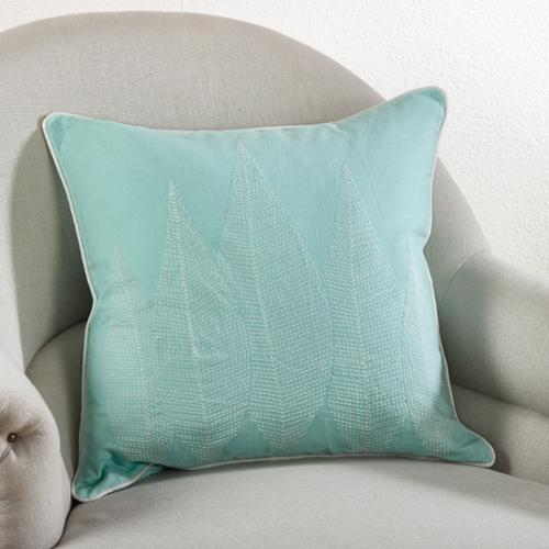 Stitched Leaf 20-inch Down Filled Throw Pillow Seafoam Green, 20 inches long x 20 inches wide