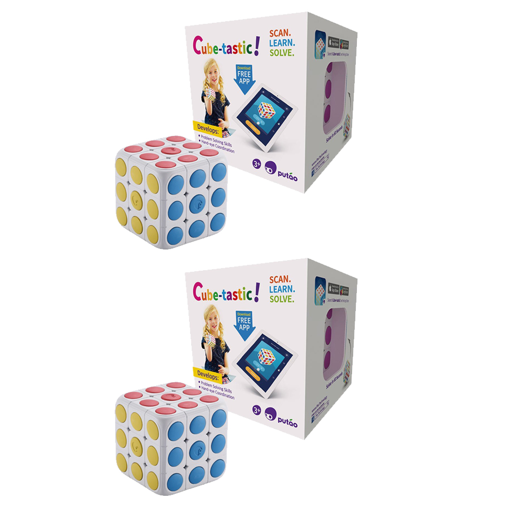 Cube-Tastic! 3x3 Puzzle Cube with Free IOS Android App. Brain Teaser Toy 3-pack by PUTAO