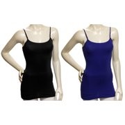 Womens 2 Pack Black & Blue Cotton Tank Top Cami Spaghetti Strap (Small)