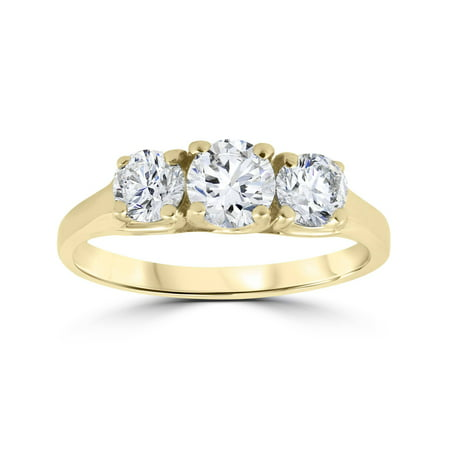 1ct Three Stone Diamond Engagement Womens Anniversary Ring 14k Yellow Gold