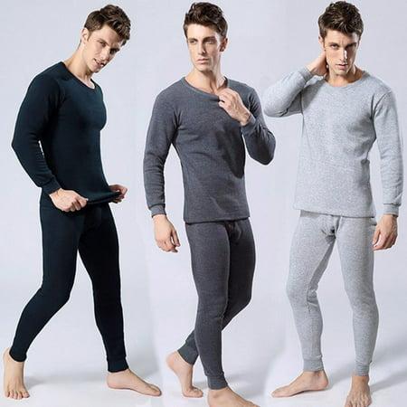 Thermal Underwear Set Winter Thicken Long Johns Men Warm 2pcs Tops Bottom Cotton