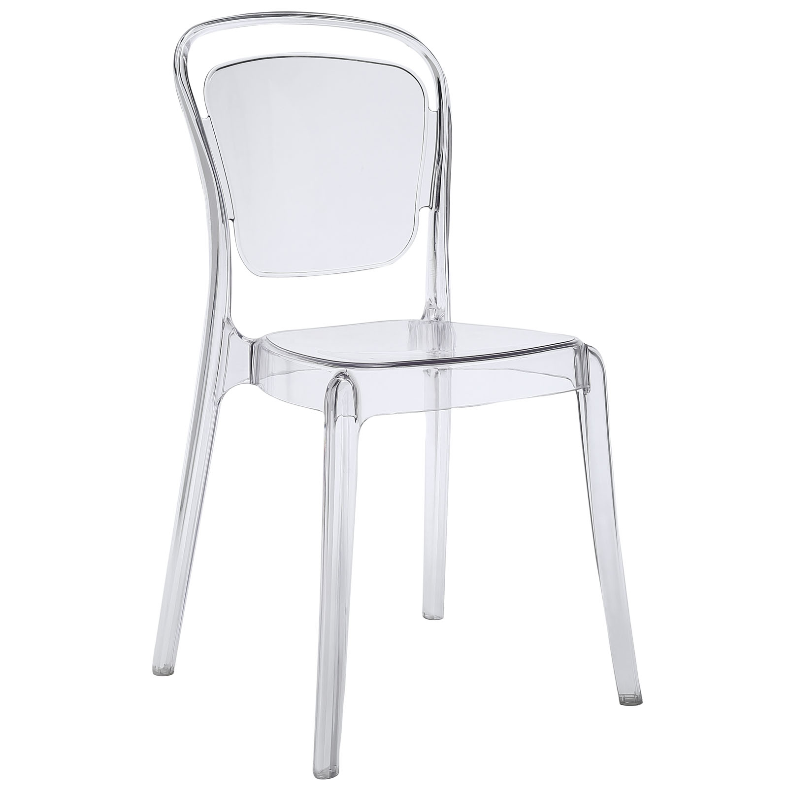 Modern Contemporary Kitchen Dining Side Chair Clear (Outdoor Or Indoor)