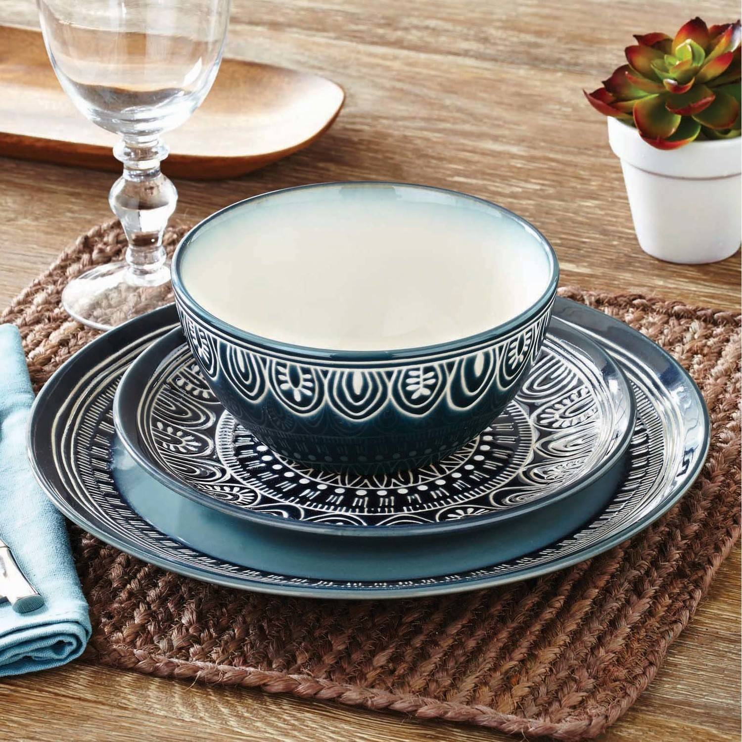 Better Homes U0026 Gardens Teal Medallion 12 Piece Dinnerware Set, Teal    Walmart.com