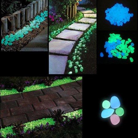 Garden Pebbles Glow Stones Rocks for Walkways Garden PathLightBlue30pcs - image 3 de 10