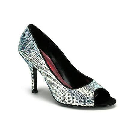3 1/2 inch heel rhinestone peep toe pump shoe sexy high