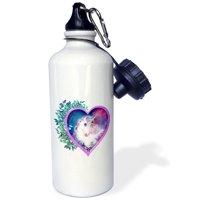 3dRose Sweet Unicorn inside of a heart, floral, leaves, myth, legend, Sports Water Bottle, 21oz