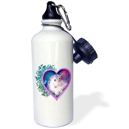3dRose Sweet Unicorn inside of a heart, floral, leaves, myth, legend, Sports Water Bottle, (Legend Process Water)